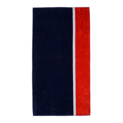 Superior - Superior Collection Luxurious Jacquard Cotton Beach Towel - Bay - Relax and dry off in style with these velour terry cloth beach towels from Superior. This fun design features navy blue, red and a white stripe. Dimensions: 34x64.