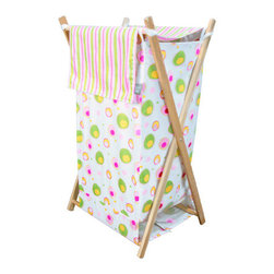 "Trend Lab - Hamper Set - Splash Pink - The Splash Pink Hamper Set by Trend Lab is a decorative solution for quick clean up. The floating bubble and dot print body and variegated stripe print outer flap easily attaches to the collapsible pine wood frame. A fashionable color pallet of paradise and pretty pink, electric lime, buttercup yellow and white makes this hamper suitable for any room of the house. Machine washable inner mesh liner is removable making the transport of laundry effortless. Assembled hamper measures 27"" x 15"" x 15"". Hamper Set coordinates with the Splash Pink collection."