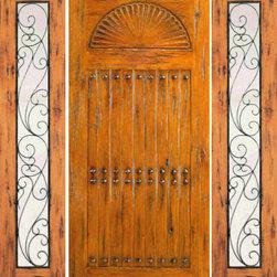 """Prehung Door with Two Sidelights, Exterior, Knotty Alder Carved - SKU#SW-67-52_1-2BrandAAWDoor TypeExteriorManufacturer CollectionWestern-Santa Fe Entry DoorsDoor ModelDoor MaterialWoodWoodgrainKnotty AlderVeneerPrice2794Door Size Options[30""""+2(18"""") x 80""""] (5'-6"""" x 6'-8"""")  $0[32""""+2(18"""") x 80""""] (5'-8"""" x 6'-8"""")  $0[36""""+2(18"""") x 80""""] (6'-0"""" x 6'-8"""")  +$20[42""""+2(18"""") x 80""""] (6'-6"""" x 6'-8"""")  +$140[30""""+2(18"""") x 96""""] (5'-6"""" x 8'-0"""")  +$566.4[32""""+2(18"""") x 96""""] (5'-8"""" x 8'-0"""")  +$566.4[36""""+2(18"""") x 96""""] (6'-0"""" x 8'-0"""")  +$586.4[42""""+2(18"""") x 96""""] (6'-6"""" x 8'-0"""")  +$786.4Core TypeSolidDoor StyleRusticDoor Lite StyleFull LiteDoor Panel StyleHand Carved PanelHome Style MatchingSouthwest , Log , Pueblo , WesternDoor ConstructionTrue Stile and RailPrehanging OptionsPrehungPrehung ConfigurationDoor with Two SidelitesDoor Thickness (Inches)1.75Glass Thickness (Inches)1/4Glass TypeSingle GlazedGlass CamingGlass FeaturesGlass StyleGlass TextureClearGlass ObscurityDoor FeaturesDoor ApprovalsDoor FinishesDoor AccessoriesClavosWeight (lbs)850Crating Size25"""" (w)x 108"""" (l)x 52"""" (h)Lead TimeSlab Doors: 7 daysPrehung:14 daysPrefinished, PreHung:21 daysWarranty1 Year Limited Manufacturer WarrantyHere you can download warranty PDF document."""