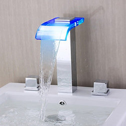 Bathtub Faucets - Contemporary Waterfall Wall-mounted Chrome Finish LED Glass Spout Bathroom Tub Faucet--faucetsmall.com