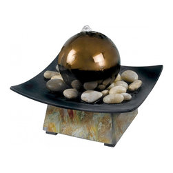 Kenroy Home - Kenroy Home Sphere Indoor Table Fountain Natural Green Slate Finish - 50235SL - Take a few minutes to relax and meditate on this cool slate, tabletop fountain. Water bubbles over a gazing ball centered in a dark pebble filled tray. Sophisticated and artful, Sphere brings beauty to home or office.