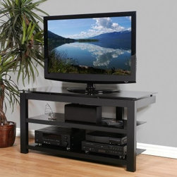 Plateau SL Series 50 Inch 3 Shelf TV Stand Black on Black - The Plateau SL Series 50 inch 3 Shelf TV Stand Black on Black is simplicity at its best. This long stand supports a flat panel TV up to 56 inches and offers two large lower shelves with cord management openings and plenty of space for all your electronic components. The sparse black wood veneer frame topped by a slab of sophisticated black glass creates an open concept design with universal appeal.About Plateau CorporationPlateau Corporation utilizes the finest materials to provide you with state of the art audio and video home theater furniture systems. Entertainment centers created by Plateau Corporation are a fusion of innovative engineering and contemporary design. Their product list includes entertainment centers, media storage, TV armoires, and TV stands that are all are easy to assemble, incredibly durable, and specially made to highlight your audio/video system. Their unique entertainment centers can grow as your system grows.