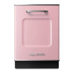 """Big Chill - Big Chill Dishwasher 24 in. wide - Pink Lemonade - The Big Chill Pink Lemonade Dishwasher is the perfect addition to your kitchen dcor. 1950s style meets modern functionality with the 24"""" x 35"""" dishwasher that is scratch and fade resistant, trimmed in durable chrome, and built to last. With the pink Big Chill dishwasher you get the retro look you love, and the modern dishwashing power you need."""