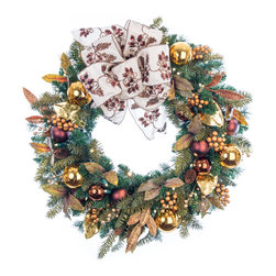 Village Lighting - Gold Berry & Ornament LED Wreath - The Gold Berry and Ornament wreath is adorned with an assortment of gold berries, leaves and ornaments, along with and abundance of nature inspired greenery, all nestled together with beautiful pine cones and dark bronze ornaments. Features lifelike PVC and PE tips as well as our exclusive Nun-Chuck battery and Super Mini lighting system.