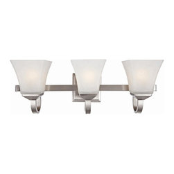 Design House - Torino 3-Light Bathroom Fixture - Soft, elegant accent in any bathroom. Squared glass frames and bold steel details give this wall mount a modern aesthetic. Can be mounted up or down depending on location and preference. UL listed. Has 120-volts and features three 60-watt medium base incandescent lamp. Strong corrosion resistant finish. Made from frosted glass and steel. Satin nickel finish. Assembly required. 22.5 in. L x 6.75 in. W x 8 in. H (2.5 lbs.). Product InstructionsWarranty