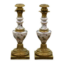 China Furniture and Arts - Hand Painted Porcelain Candle Holders - Superb reproduction of 19th century European candle holders with completely hand painted fruit motif. Enhanced with ormolu style hand forged antiqued brass base and top. Thus, this extraordinary pair provides dramatic lighting and extends the beauty of theirs contents while serving as art mediums unto themselves in any room. Imported from China.