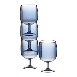 Stacking Blue Acrylic Wine Glasses - These outdoor wine or iced tea glasses are unbreakable, yet still stylish.