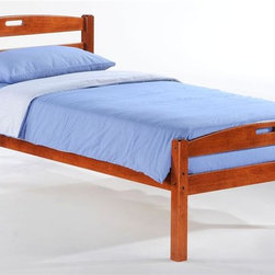 Night & Day Furniture - Sesame Twin Bed in Cherry - Bed includes head/foot panels, posts, rails, slats. Two magic words opened a cave full of treasure. Tiny, tasty, golden seed forever associated with big time enchantment. Charmed and extraordinary adventures are virtually guaranteed. 100% Malaysian Rubberwood construction. Warranty: 5 years. Cherry finish. 42 in. W x 80.6 in. D x 34.9 in. HTake care of your kids' needs for beds, bunks and storage with our Zest Bedroom Collection for Night and Day. Smart quality at extraordinary value. We have gone to great lengths to design and engineer this complete line to keep your cost down and your pleasure up.