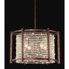 Dark Brown 4-light Crystal Pendant | Overstock.com