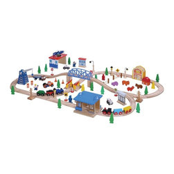 WoodenTracks.com Inc - Maxim 100 Piece Wooden Train Set Brown - 50117 - Shop for Vehicle Playsets and Accessories from Hayneedle.com! Your child may disappear for hours on end while they send their train off to the country through the city and into places unknown with the Maxim 100 Piece Wooden Train Set. Complete with tracks engines cars a bridge buildings farmland animals and more your child will have a hard time running out of things to do. Made from 100% hardwoods and painted in fun vibrant and nontoxic colors this sturdy set is made to stay together and not fall down. It's also compatible with other fine wooden train sets such as Thomas and Friends Melissa & Doug Kidkraft and more. Additional Features Sturdy design and support structure Made to stay together and not fall down Compatible with many fine wooden train sets Works with many wooden train accessories Backed by a lifetime guaranteeAbout WoodenTracks.comA small business-based company that has been selling children's wooden train sets and accessories around the world since 1998 WoodenTracks.com is located in Portland OR. WoodenTracks.com makes sure all of their products are interchangeable and compatible with each other no matter the brand so you can build the ideal set for your child. WoodenTracks.com also believes that customer service is as important as their products and strives to make sure their customers are happy and satisfied.