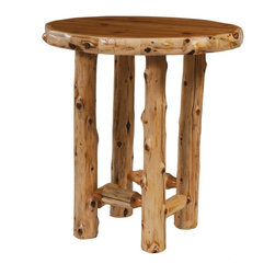 Fireside Lodge Furniture - Cedar Round Log Pub Table (40 in. Dia. - Liqu - Finish: 40 in. Dia. - Liquid GlassCedar Collection. Northern White Cedar logs are hand peeled to accentuate their natural character and beauty. Clear coat catalyzed lacquer finish for extra durability. 2-Year limited warranty. 32 in. Dia. x 42 in. H (65 lbs.). 36 in. Dia. x 42 in. H (75 lbs.). 40 in. Dia. x 42 in. H (80 lbs.)