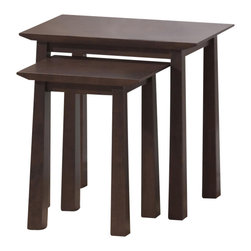 Baxton Studio - Baxton Studio Havana Brown Wood Modern Nesting Table Set - Simultaneously having a classic and contemporary feel, the Havana Nesting Table Set is a versatile design with just the right touch for a sophisticated, casual living space. This is a practical yet elegant two-piece table set that is ideal for use as an end table positioned with the tables together or separately. The contemporary end table is built with dark brown wenge veneered MDF with eco-friendly rubber wood. To clean, wipe with a dry cloth. Made in Malaysia; assembly is required. A matching Havana end table, bookcases, TV cabinet, and coffee table are also offered (each sold separately).