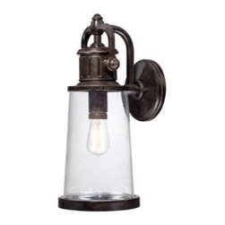Quoizel - Quoizel SDN8408 Steadman Medium Outdoor Wall Sconce with 1 Light - Embellish your outdoor d�cor with this spectacular 1 light outdoor wall sconce featuring delightful clear seedy glass.Features: