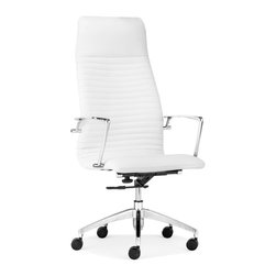 None - Lion High Back White Office Chair - This gorgeous office chair features a classy white faux leather upholstery, chromed steel finish and useful wheels. Add an elegant touch to your home or office today with this high back chair.