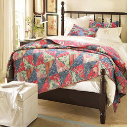 None - Red Rose Garden Quilt Set - A vibrant floral,paisley and striped patchwork design highlights this striking Red Rose quilt set. Made of pre-washed and pre-shrunk cotton,this quilt set includes coordinating shams.