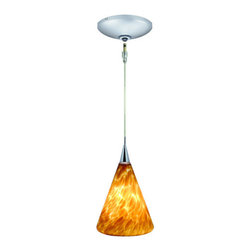 Jesco Lighting - Jesco Lighting KIT-QAP107-AM-A Ellis 1 Light Low Voltage Mini Pendant - Jesco Lighting has built a solid reputation on quality, service and value. An expanded product offering includes a broad range of indoor and outdoor lighting products. All are available in various energy-efficient lamp sources and options exist for a multitude of power supplies and accessories allowing you to customize according to your project needs.Ellis is a hand-blown cased art glass shade. It includes a quick adapt jack, 96 in. Field-cuttable cable, socket assembly, hang-straight tube, protective lamp shield and xenon bi-pin 12v 50w lamp. Ellis design adds drama, grace and effective lighting to any residential space, retail or commercial. The monopoint surface-mounted canopy is offered with (1) integral 12v 50w transformer and complements the design and functionally of this kit. Pendant - amber finish monopoint round canopy - satin chrome finish.Features:
