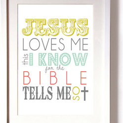 Nursery Wall Art, Jesus Loves Me This I Know Print by Beau Chic Prints + More