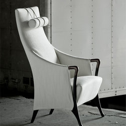 Giorgetti - Giorgetti Progetti Bergere Armchair - As a part of Giorgetti's Riserva America program, this classic design is available for quick ship. Each peice in the quick ship collection is available in a way that it matches effortlessly with another. This matching ability is because of the perfectly contrasting fabrics and wood finishes. The upholstery is available in two options of fabrics: a light Natural Bianca or a dark Velvet Vision. The chair has elegant arms and legs that are made with solid wood. The legs are in a Matte Beech Wood finish, and the arms are in a Pau Ferro wood finish. The dark leg helps enhace the red color that is found in the chair's arm. Price includes shipping to the USA. Manufactured by Giorgetti.Designed in 1987.