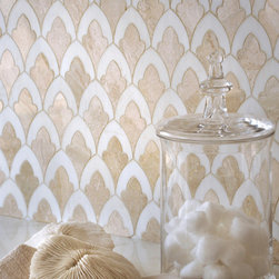 Sophia, Talya Collection by Sara Baldwin for Marble Systems - Sophia, a stone waterjet mosaic shown in Diana Royal and Snow White, is part of the Talya Collection by Sara Baldwin for Marble Systems.