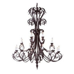 The Gallery - Large Foyer / Entryway Wrought Iron chandelier - Wrought Iron chandelier. A Great European Tradition. Nothing is quite as elegant as the fine chandeliers that gave sparkle to brilliant evenings at palaces and manor houses across Europe. This beautiful chandelier from the Versailles Collection has 24 Lights. The frame is Wrought Iron, adding the finishing touch to a wonderful fixture. The timeless elegance of this chandelier is sure to lend a special atmosphere anywhere its placed! Please note this item requires assembly. This item comes with 18 inches of chain.