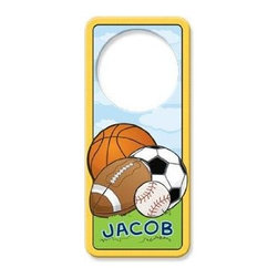 KidKraft - Sports Door Hanger, MDF by Kidkraft - Can be personalized with any name up to 9 characters in length. All lower case. Fits any standard door knob. Reverse side is blank.