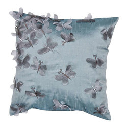 """Jaipur Rugs - Jaipur Rugs Contemporary Textural Pattern Crystal Blue Poly Dupione // 18""""X18"""" - Soft shades of neutral and dusty pastel are the cornerstone of this whimsical feminine range of pillows made from poly dupione. The collection features imagery of butterflies, florals, and birds."""