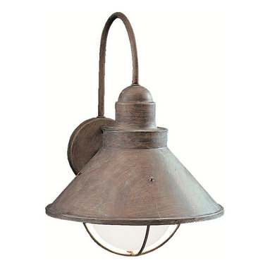 BUILDER - BUILDER Seaside Transitional Outdoor Wall Sconce X-BO3209 - This Kichler Lighting transitional outdoor wall sconce from the Seaside Collection features a classic industrial lantern or nautical shaped cone shade that hangs from a hard curved arm, completed in an Olde Brick finish for a weathered, aged look.
