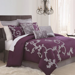 None - Duchess Plum 9-piece Comforter Set - Give your bedroom space an extra bit of pizzazz with this nine-piece comforter set. Featuring a lovely purple-and-grey design, it is perfect for all seasons. It includes a comforter, euro shams, decorative pillows, bedskirt, and standard shams.