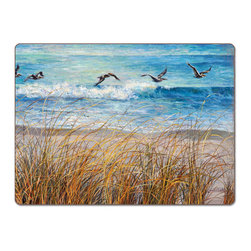 "A Beach Watch Coastal 4 Hardboard, Cork-Back, Placemats - Beach Watch Cork-back, Non-skid, Hardboard 15.75"" x 11.5"" Table Mat/Placemats are produced using layered construction  for years of carefree use. This beautiful designer art product is special ordered   for you from the manufacturer. It is not returnable and may take a little longer to receive."