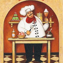Murals Your Way - Desserts Wall Art - This jolly chef beckons with an assortment of sugary treats