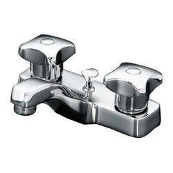 KOHLER - KOHLER K-7401-2A-CP Triton Centerset Lavatory Faucet - KOHLER K-7401-2A-CP Triton Centerset Lavatory Faucet with Pop-up Drain and Standard Handles in Chrome