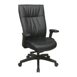 Office Star - Office Star Contemporary Leather Executive Chair With PU Padded Adjustable Arms - Contemporary Leather Executive Chair with PU padded adjustable arms, layered seat and back and nylon base. Pneumatic seat height adjustment, 360? swivel, pivot tilt, 2 to 1 synchro tilt, tilt tension with tilt lock What's included: Office Chair (1).