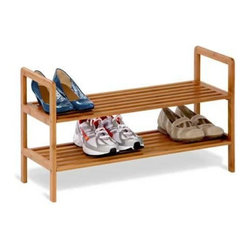 Honey Can Do - Honey-Can-Do Bamboo 2-Tier Shoe Shelf - This eco-friendly bamboo shelving unit is the perfect combination of function, versatility, and style. The gorgeous, natural finish is a stunning addition to any decor. The unit can display 8-pairs of shoes beautifully; more for smaller sizes. Open slats allow air circulation, yet are close enough together to hold other items such bags or books. Durable bamboo is also moisture resistant; making this a great storage solution for baskets or towels in a spa-style bathroom.