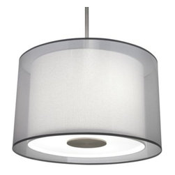 "Robert Abbey - Saturnia Drum Pendant by Robert Abbey - The fixture around which a soft contemporary design scheme can orbit. The Robert Abbey Saturnia Drum Pendant features two shades: an outer Silver Transparent fabric shade hovering around the inner Ascot White fabric shade. This multi-layered shade and White acrylic diffuser issue forth a cool, bright wash of light around a space.Robert Abbey has been designing and manufacturing fine lighting since 1946. They offer a diverse collection--wall swingers, chandeliers, floor lamps and more--in a myriad of styles, from tradition to neoclassical to groovy. Collaborating with acclaimed designers Jonathan Adler, Rico Espinet and David Easton, Robert Abbey creates impeccable lighting that is perfect for modern everyday living.The Robert Abbey Saturnia Drum Pendant is available with the following:Details:Drum-shaped Silver Transparent fabric outer shadeDrum-shaped Ascot White fabric inner shadeWhite acrylic diffuserMetal frameStainless Steel finishRound ceiling canopyOne 6"" and three 12"" extension rodsAdjustable heightUL ListedLighting:Three 100 Watt 120 Volt A19 Incandescent lamps (not included).Shipping:This item usually ships in 2-3 weeks."