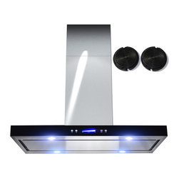 GOLDEN VANTAGE - GV 36-Inch Stainless Steel Island Range Hood W/Carbon Filter For Ductless Option - Our Contemporary Europe design range hoods capture the most pollutants, grease, fumes, cooking odors in a quiet way but maintain a strong CFM From 300-900 depends on the style or model you choose. GV products not only provide top notch quality of material, we also offer led lighting, quiet chamber blower, adjustable telescopic chimney. All of our range hoods can convert to ventless/ductless options if outside exhaust not permitted.