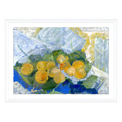 Soicher-Marin - Apricots on Blue Plate - Giclee print with a white gloss wood frame with an elevation of the distress print onto a white mat.  Includes glass, eyes and wire. Made in the USA. Wipe down with damp cloth