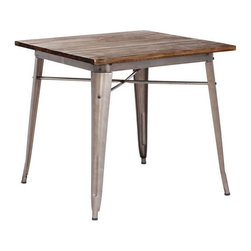 Bistro Dining Table in Rustic Wood - It's no secret that San Francisco's best restaurants are rich in design, marrying wood and steel to create a flawless interior decor. Bring in a touch of our beautiful city with this Bistro Dining Table. The solid distressed wood top with sturdy steel frame will have you wondering if you've just teleported out of your home dining room and into your favorite brunch spot.