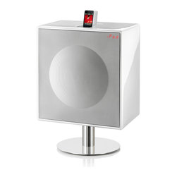 GenevaSound - XL High Powered All-In-One Hi-Fi For CD, iPod/iPhone, Radio and More, in White - With this all-in-one music center, you get 600 watts of power to pump up your jams, whether they're on CD, iPod/iPhone, radio or any accessory compatible with the line-in jack. What rocks even more is that you get all this in one pretty package you don't have to hide away.