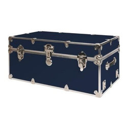 Rhino - Rhino Armor Storage Trunk in Navy Blue (Small - Choose Size: Small: 30 W x 16 D x 12.5 H (24 lbs.)Two nickel plated steel universal wheel adapter plates mounted on the side of the trunk. Laminated armor exterior. Strong hand-crafted construction using both old world trunkmaking skills and advanced aviation rivet technology. Steel and aluminum aircraft rivets used to ensure durability. Heavy duty proprietary nickel plated steel hardware. Steel lid hinges and steel lid stay for keeping the lid propped open. Tight fitting steel tongue and groove lid to base closure to keep out moisture, dirt, insects and odors. Stylish lockable nickel plated steel trunk lock. Loop for attaching a padlock. Genuine leather handles. American craftsmanship. Self-sticking adhesive on the back of the name plate. Upper or lower case lettering. Lettering is in black. The name plate can take 24 characters per line. The max number of lines is 2. Warranty: Lifetime warranty includes free non-cosmetic repairs for the life of the trunk. Made from smooth 0.38 in. premium grade baltic birch hardwood plywood. No paper or plastic lining anywhere avoiding peeling or tearing. Name plate made from plastic. No assembly required. Name Plate: 3 in. L x 1 in. HThe hand-crafted American Made Rhino Armor Cube is constructed from the highest quality components. Rhino Armor is an exterior 1000d Cordura Nylon textured sheathing that's highly resistant to water penetration, denting and scratching. The Rhino Armor Cube is conveniently sized and ruggedly built. In fact, its strong enough to stand on ! The Rhino Armor Cube is easily stowed and can be securely locked to insure the safety of personal items. The Rhino Armor Cordura sheathing ensures that Rhino Armor Cubes have the most durable exterior available in the trunk industry. Rhinos brushed bright metal finish name plates are a great addition to any Rhino Trunk. Most people put their full name on, but its your choice. You can have your name on one or two lines. You can place the name plate anywhere you like on the Rhino Trunk.