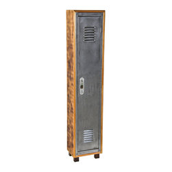 Repurposed Artifacts - the pressed and folded cold-rolled steel door is affixed to a custom-built cedar wood long and narrow mitered joint cabinet containing a single interior shelf. the locker rests on four solid pine wood low-lying block feet. measures 13 1/2 x 9 1/2 x 65 inches.
