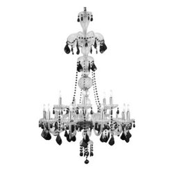 """The Gallery - Murano Venetian style All-Crystal chandelier with Black Crystal - Crystal chandelier. A Great European Tradition. Nothing is quite as elegant as the fine crystal chandeliers that gave sparkle to brilliant evenings at palaces and manor houses across Europe. This unique version from the Royal Collection features the 100% crystal that captures and reflects the light of the candle bulbs, each resting in a scalloped bob ache. The timeless elegance of this chandelier is sure to lend a special atmosphere in every home Assembly required. Size: W 32"""" H 48"""". Light: 15 Lights."""