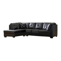 Coaster - Coaster Darie Sectional (Black) - The Darie Collection by Coaster Furniture is modern, yet timeless with its crisp lines throughout. Featuring incredible comfort with sumptuous, button-tufted black bonded leather seating and poly fill foam cushions. Whether you're entertaining or stretching out on a lazy afternoon, this collection is irresistible!