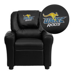 """Flash Furniture - Missouri, Kansas City Kangaroos Black Leather Kids Recliner with Cup Holder and - Get young kids in the college spirit with this embroidered college recliner. Kids will now be able to enjoy the comfort that adults experience with a comfortable recliner that was made just for them! This chair features a strong wood frame with soft foam and then enveloped in durable leather upholstery for your active child. This petite sized recliner is highlighted with a cup holder in the arm to rest their drink during their favorite show or while reading a book. University of Missouri, Kansas City Embroidered Kids Recliner; Embroidered Applique on Oversized Headrest; Overstuffed Padding for Comfort; Easy to Clean Upholstery with Damp Cloth; Cup Holder in armrest; Solid Hardwood Frame; Raised Black Plastic Feet; Intended use for Children Ages 3-9; 90 lb. Weight Limit; CA117 Fire Retardant Foam; Black LeatherSoft Upholstery; LeatherSoft is leather and polyurethane for added Softness and Durability; Safety Feature: Will not recline unless child is in seated position and pulls ottoman 1"""" out and then reclines; Safety Feature: Will not recline unless child is in seated position and pulls ottoman 1"""" out and then reclines; Overall dimensions: 24""""W x 21.5"""" - 36.5""""D x 27""""H"""