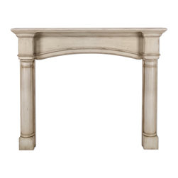 "Pearl Mantel - The Princeton Fireplace Surround, French Country Finish, 56"" - A modern classic. This fireplace surround has simplified traditional design to suit almost any hearthside style. Available beautifully finished or unfinished, awaiting your artistry."