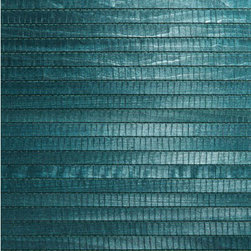 Mayumi Aqua Grasscloth Wallpaper - Wide, flat bamboo in a gorgeous turquoise hue. This natural grasscloth wallpaper has an exotic allure.