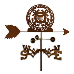 None - Handmade Armed Services US Coast Guard USCG Weathervane - This weathervane is made of strong 14-gauge steel and is then covered with copper-colored powder-coat paint. This handcrafted weathervane features an eye-catching and unique design.