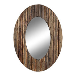 """Cooper Classics - Coastal Cooper Classics Loveland 35 1/2"""" High Oval Wall Mirror - The Loveland oval wall mirror from Cooper Classics brings a touch of rustic style to your home. Natural rustic wood finish frame has vertical details. Tapered oval glass has a modern shape. This is a versatile piece that works with rustic or transitional decor schemes. Natural rustic wood finish. Tapered oval mirror glass. Hang vertically or horizontally. 35 1/2"""" high. 27 1/2"""" wide. Mirror glass only is 23 1/2"""" high 13 1/2"""" wide. Hang weight 15 lbs.  Natural rustic wood finish.  Tapered oval mirror glass.  Hang vertically or horizontally.  3-hole hanger.  35 1/2"""" high.  27 1/2"""" wide.  Mirror glass only is 23 1/2"""" high 13 1/2"""" wide.  Hang weight 15 lbs."""