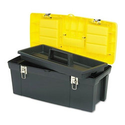 None - Stanley Bostitch Series 2000 Two-lid Compartment Toolbox - Organize your supplies or tools, and keep them close at hand with this handy Stanley tool box. The high-impact plastic construction offers a durable, long-lasting storage solution. The handle has a rubber coating making it soft and easy to grip.