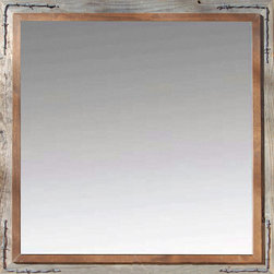 MyBarnwoodFrames - Western Mirrors Rustic Barnwood Mirror with Barbed Wire 18x22 - Western  Mirrors  -  Barnwood  Mirror  with  Alder  Overlay  and  Barbed  Wire  Corners          Western  Mirrors  can  be  tricky  to  find,  but  you've  come  to  the  right  place.  We  handcraft  several  styles  and  dozens  of  custom  sizes  of  western  mirrors.  For  this  one,  we've  taken  our  popular  Hobble  Creek  Western Frame,  which  features  an  alder  overlay  on  top  of  natural  barnwood,  and  we've  turned  it  into  a  molding  for  a  great-looking  cowboy-style  mirror.  A  one-inch  alder  overlay  strip  is  complemented  by  barbed  wire  corner  embellishments.          This  beautiful  western  mirror  features  naturally-aged,  sun-drenched  barn  wood  timber  and  a  square  18x22  inch  mirror  inside  of  a  3.5  inch  reclaimed  wood  frame.  The  total  exterior  dimensions  of  the  mirror  are  34x34  inches.  Your  mirror  comes  ready  to  hang  with  D-ring  hardware  pre-installed.          CUSTOM  SIZES  ARE AVAILABLE          Call  888-635-2276  for  a  quote          Product  Dimensions:                  18x22  mirror,  34x34  frame              Hanging  hardware  is  attached              Alder  overlay  with  barbed  wire  accents              Approximately  20  lbs.