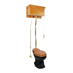 Renovators Supply - High Tank Toilets Black Flat Panel Light Oak Fin Round Z-pipe - High Tank Toilets Z-pipe: Our stylish high tank round toilet will lend your lavatory the charm & ambiance of the Victorian age. We've updated the materials and components with 21st century technology. All tanks are a water-saving 1.6 gallons per flush. Ready to install with all mounting parts, includes light oak finish flat panel wood tank, liner, supply line, angle stop, mounting hardware and grade A vitreous round bowl. Toilet seat not included. Adjustable overall height from 59 in. to 74 in. and 12 inch rough-in.